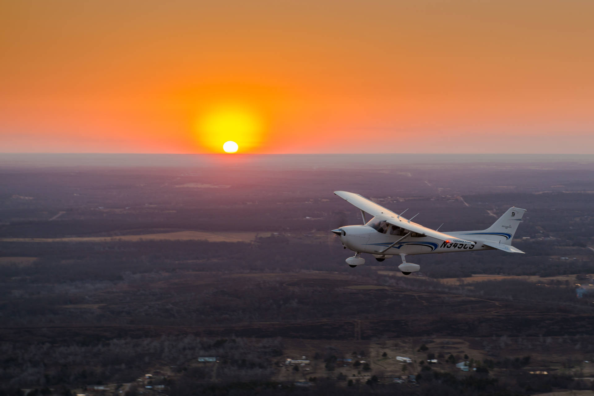 Cessna 172 at sunset