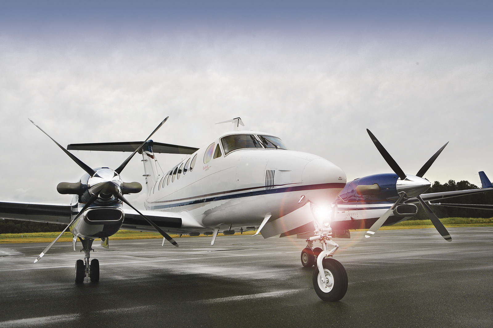 King Air turboprop readies for flight inspection flight